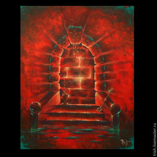 Символизм ручной работы. Ярмарка Мастеров - ручная работа. Купить Коллекционная картина: Двери, которых нет 3: Ярость. Handmade. Бордовый