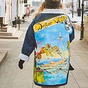 Одежда handmade. Livemaster - original item Denim jacket with Dali print. Painting on fabric Salvador Dali. Handmade.