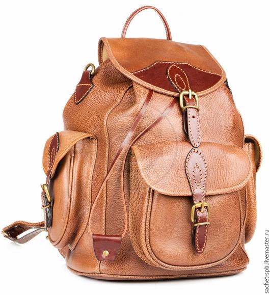 """Рюкзаки ручной работы. Ярмарка Мастеров - ручная работа. Купить Кожаный рюкзак """"Мидл"""" светло- коричневый. Handmade. Коричневый"""