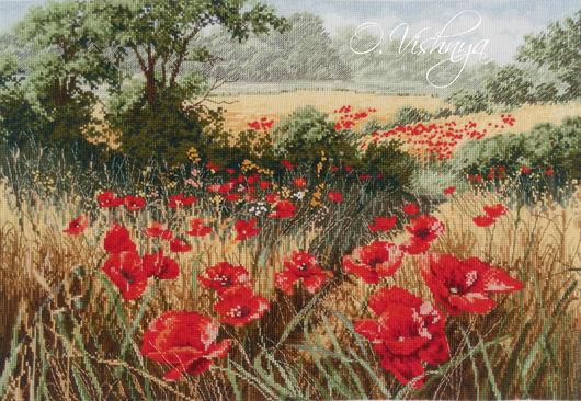 """Картины цветов ручной работы. Ярмарка Мастеров - ручная работа. Купить Вышитая картина """"Маковое поле"""".. Handmade. Вышивка, цветы"""