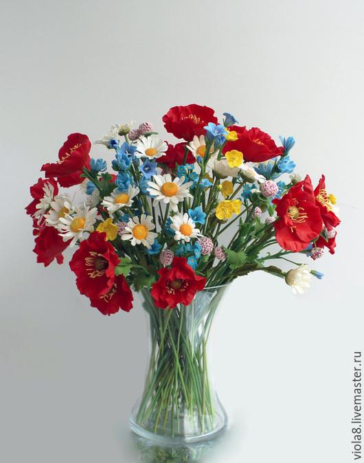 букет,полевые цветы,мак красный,ромашка белая,колокольчик,незабудка,синие цветы,луговые цветы,луговые травы,интерьерный букет,летний букет.Цветы и украшения Зарифы Пироговой.