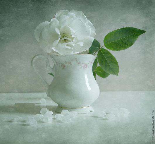 Фотокартины ручной работы. Ярмарка Мастеров - ручная работа. Купить Натюрморт Сладкая роза. Handmade. Белый, голубой, зеленый, цветок