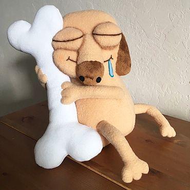 Куклы и игрушки ручной работы. Ярмарка Мастеров - ручная работа Игрушка «Пёс Дигги» с костью. Handmade.