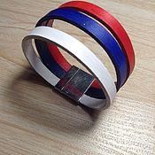 Украшения handmade. Livemaster - original item Tricolor leather bracelet with magnetic clasp. Handmade.