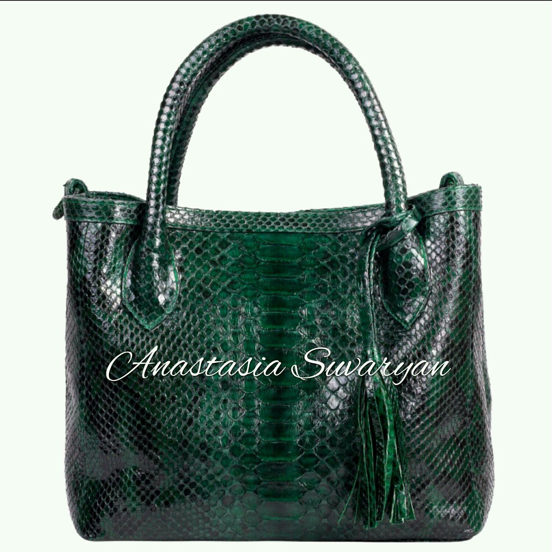 Bag genuine Python leather 'Emerald ', Classic Bag, Barnaul,  Фото №1