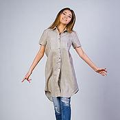 Одежда ручной работы. Ярмарка Мастеров - ручная работа Платье рубашка,рубашка лен,летняя рубашка льняная цвета соломки. Handmade.