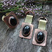 Украшения ручной работы. Ярмарка Мастеров - ручная работа Комплект BLACK серьги и кольцо - агат, медь, латунь. Handmade.