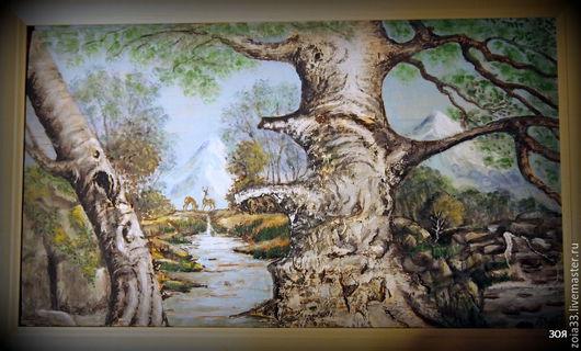 """Пейзаж ручной работы. Ярмарка Мастеров - ручная работа. Купить картина на бересте""""Олени на водопое"""". Handmade. Комбинированный, картина в подарок, картина"""