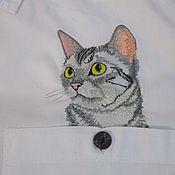 Вышивка котик в кармашке 92