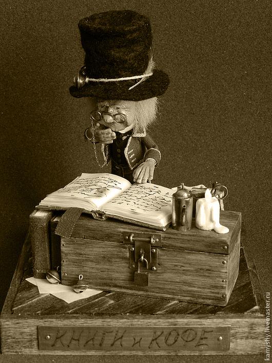 Миниатюра ручной работы. Ярмарка Мастеров - ручная работа. Купить Книги и кофе. Handmade. Коричневый, кукольная миниатюра, кожа натуральная