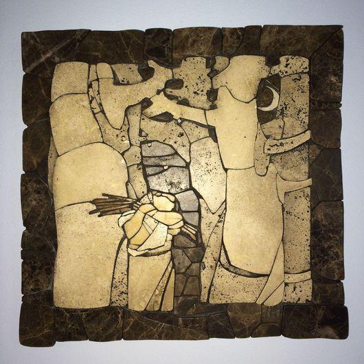 Пейзаж ручной работы. Ярмарка Мастеров - ручная работа. Купить Флорентийская мозаика из мрамора.. Handmade. Мраморный, мрамор, картина, пано