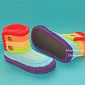 Обувь ручной работы handmade. Livemaster - original item Boots knitted plush rainbow Slippers, handmade shoes. Handmade.