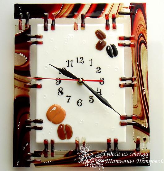 Часы для дома ручной работы. Ярмарка Мастеров - ручная работа. Купить Настенные часы КОФЕ?! , фьюзинг, стекло. Handmade. Кофе