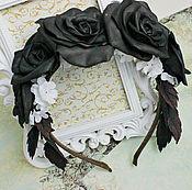 Обручи ручной работы. Ярмарка Мастеров - ручная работа Ободок с чёрными розами из фоамирана. Handmade.