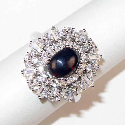 Кольца ручной работы. Ярмарка Мастеров - ручная работа. Купить Кольцо с опалом чёрным серебряное. Handmade. Комбинированный, кольцо с камнями