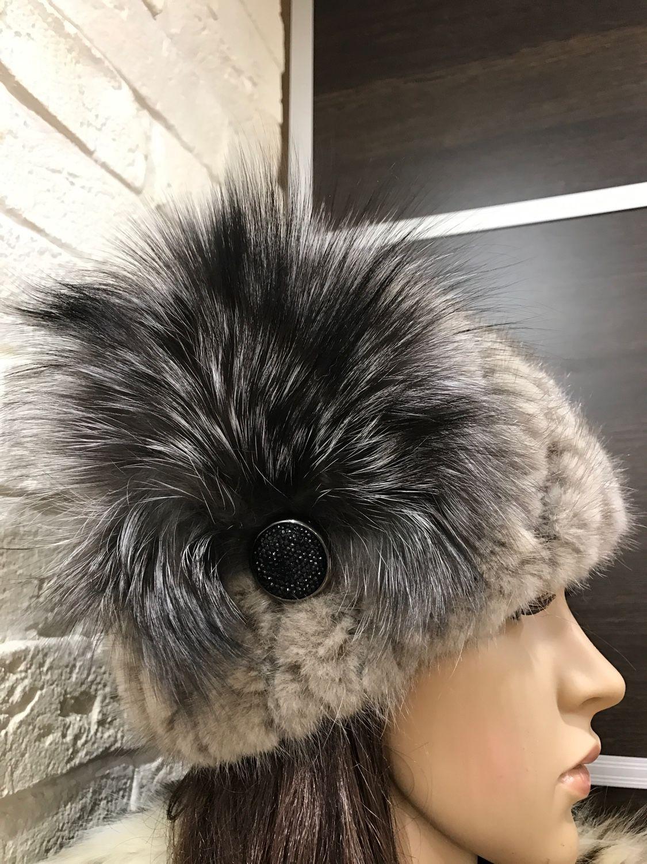 Купить Шапка из вязаной норки с украшением из чернобурки ...