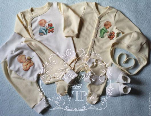 """Для новорожденных, ручной работы. Ярмарка Мастеров - ручная работа. Купить Комплект """"Сливочный крем"""". Handmade. Белый, одежда для новорожденных"""