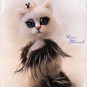 Куклы и игрушки handmade. Livemaster - original item Kitty snow white felted wool. Handmade.