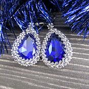 Украшения ручной работы. Ярмарка Мастеров - ручная работа Серьги с синим кристаллом. Handmade.