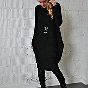 Одежда ручной работы. Ярмарка Мастеров - ручная работа Платье трикотажное кружевное черное. Handmade.