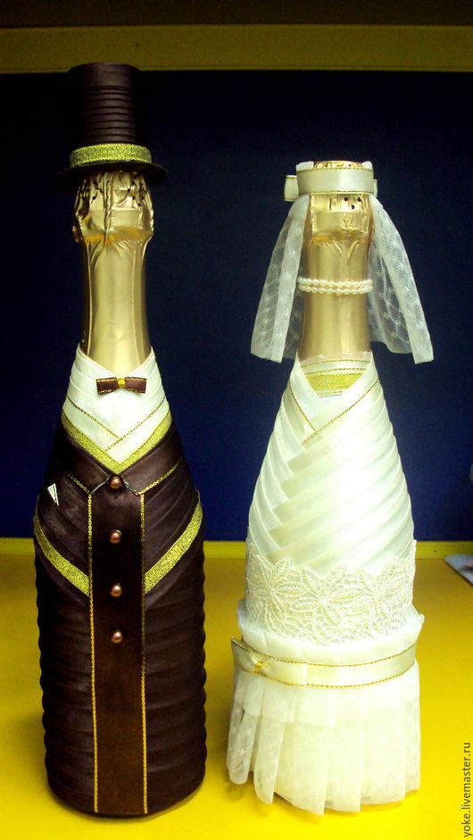 Свадебные аксессуары ручной работы. Ярмарка Мастеров - ручная работа. Купить Свадебное оформление бутылок. Handmade. Свадебные бутылки