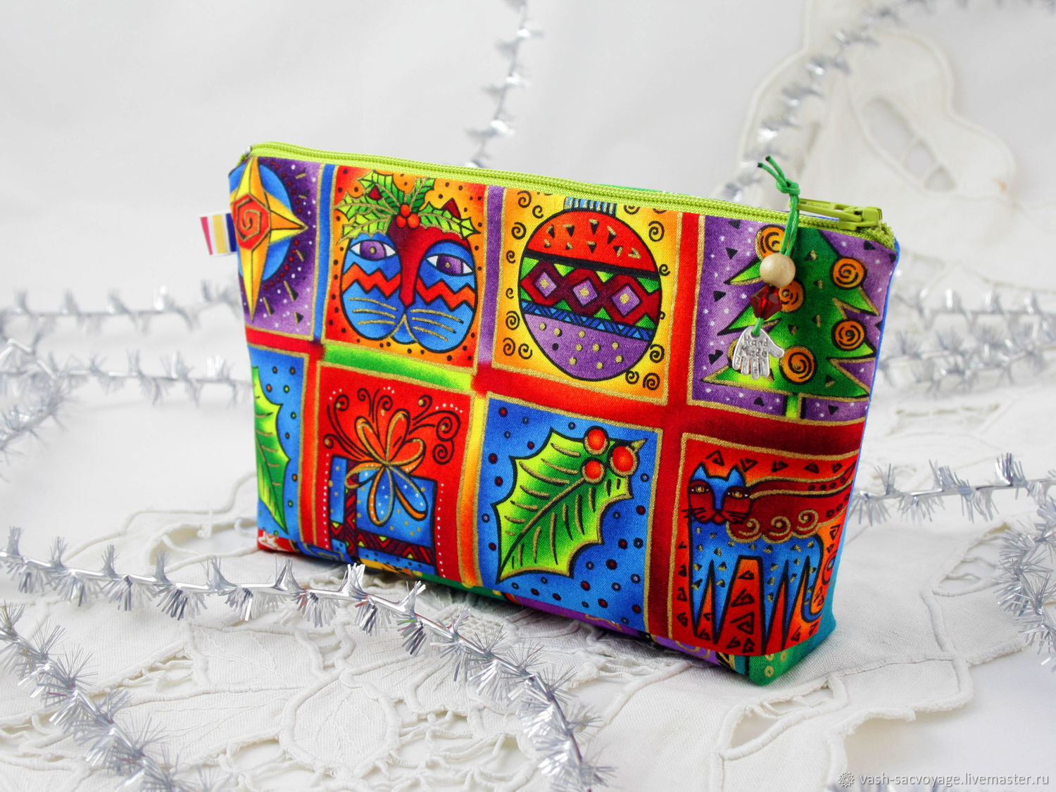 Makeup bag with zipper Christmas pictures, Cat face, Beauticians, St. Petersburg,  Фото №1