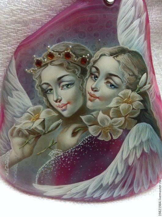 Кулоны, подвески ручной работы. Ярмарка Мастеров - ручная работа. Купить Два Ангела. Handmade. Лаковая миниатюра, агат натуральный