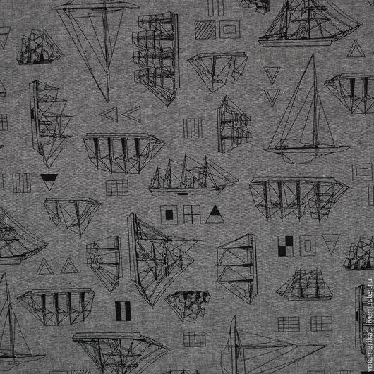 Шитье ручной работы. Ярмарка Мастеров - ручная работа. Купить Американский хлопок шамбре  рубашечная ткань ПАРУСНИКИ. Handmade.