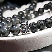 handmade. Livemaster - original item Viking bracelet, labradorite, lava, silver.. Handmade.