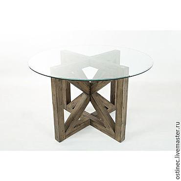 Для дома и интерьера ручной работы. Ярмарка Мастеров - ручная работа Круглый обеденный стол из массива со стеклянной столешницей №1. Handmade.