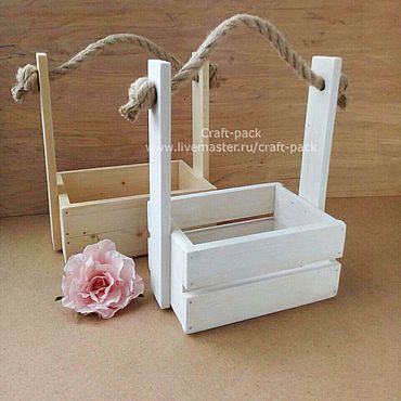 Цветы и флористика ручной работы. Ярмарка Мастеров - ручная работа Кашпо деревянное для цветов # 33, ящик деревянный, ящик с ручкой. Handmade.