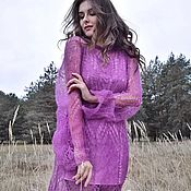 Одежда handmade. Livemaster - original item Knitted slim tunic made of mohair with a combination of. Handmade.