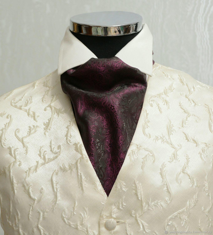 Шейный платок Аскот (галстук) Винный Шелк, Галстуки, Москва,  Фото №1