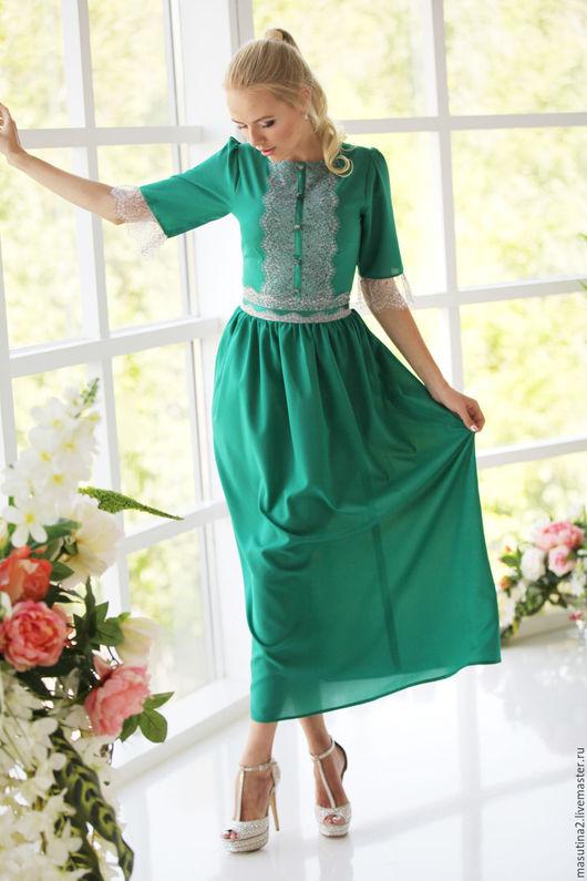 """Платья ручной работы. Ярмарка Мастеров - ручная работа. Купить Платье """"Lady Green"""". Handmade. Зеленый, сшить платье, кружево"""