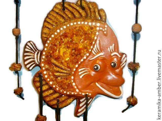 Fish 'Smile' ceramic mural on the wall souvenir gift, Suspension, Kaliningrad,  Фото №1