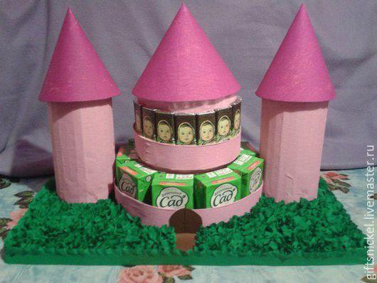 Персональные подарки ручной работы. Ярмарка Мастеров - ручная работа. Купить Замок из соков и шоколада. Handmade. Фуксия, замок