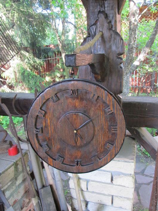 Часы для дома ручной работы. Ярмарка Мастеров - ручная работа. Купить Часы ДОЗОР 1. Handmade. Коричневый, под старину