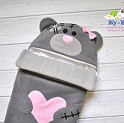 """Конверт на выписку для новорожденного """"Мишка Тедди"""" девочка демисезон"""
