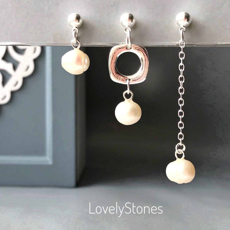 Set of three asymmetric pearl earrings, silver, Stud earrings, Yaroslavl,  Фото №1