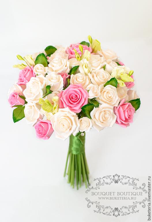 Свадебные цветы ручной работы. Ярмарка Мастеров - ручная работа. Купить Свадебный букет невесты с розами из полимерной глины. Handmade.