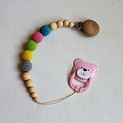 Работы для детей, handmade. Livemaster - original item Holder for pacifier. Handmade.