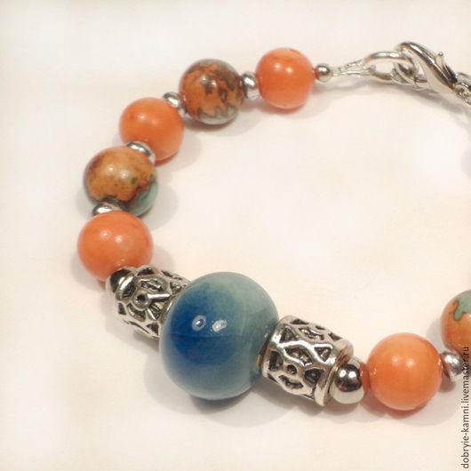 Браслеты ручной работы. Ярмарка Мастеров - ручная работа. Купить Браслет Гавайские острова (керамика, коралл). Handmade. Оранжевый цвет
