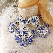 Украшения handmade. Livemaster - original item Wedding necklace Surf. Soutache necklace. NECKLACE WITH STONES.. Handmade.