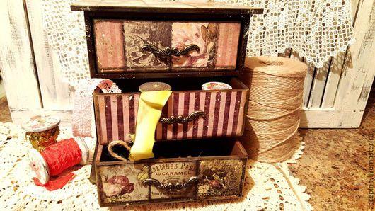 Миниатюра ручной работы. Ярмарка Мастеров - ручная работа. Купить комодик. Handmade. Брусничный, комод, подарок, полоска, розы, розовый