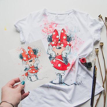 Одежда ручной работы. Ярмарка Мастеров - ручная работа Футболка женская Минни Маус. Handmade.
