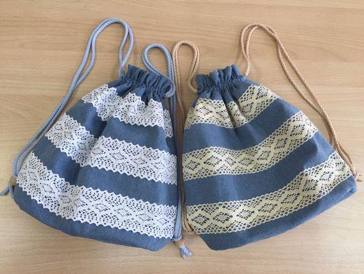Рюкзаки ручной работы. Ярмарка Мастеров - ручная работа. Купить Рюкзачок с кружевом. Handmade. Голубой, сумка, рюкзак, рюкзак детский