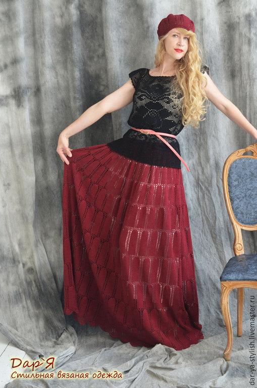 """Юбки ручной работы. Ярмарка Мастеров - ручная работа. Купить """"Марсала"""" вязаный комплект - юбка и берет. Handmade. Марсала"""