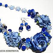 Украшения ручной работы. Ярмарка Мастеров - ручная работа Колье серьги синее  цветочное Синие розы. Handmade.