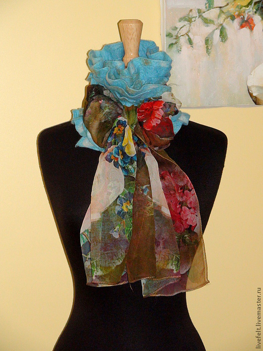 Шарфы и шарфики ручной работы. Ярмарка Мастеров - ручная работа. Купить Валяный шарф-горжетка. Handmade. Тёмно-бирюзовый