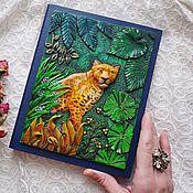 Канцелярские товары ручной работы. Ярмарка Мастеров - ручная работа Блокнот «Леопард в джунглях».. Handmade.